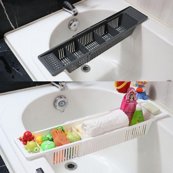 니본 슬라이드욕조정리대-화장실정리대 길이 조절 이미지